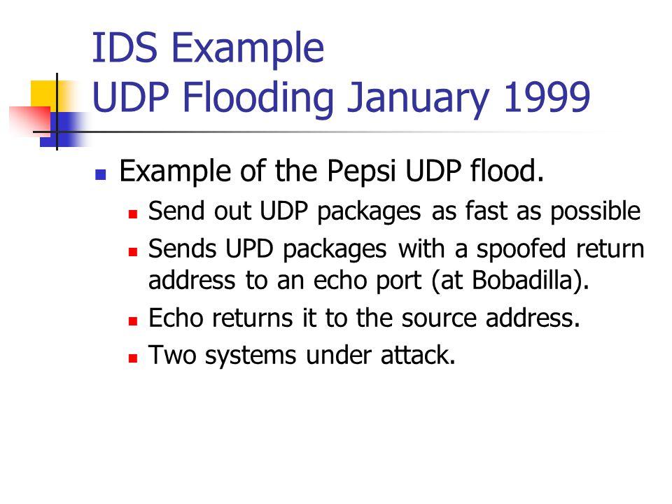 IDS Example UDP Flooding January 1999 Example of the Pepsi UDP flood.
