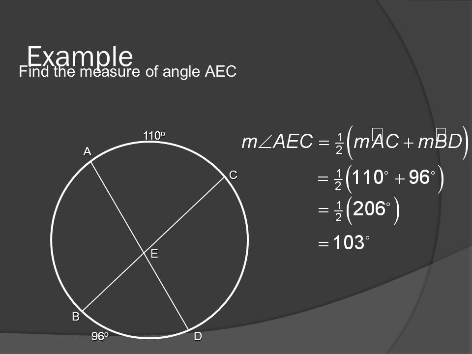 Example Find the measure of angle AEC A B C D E 110 o 96 o