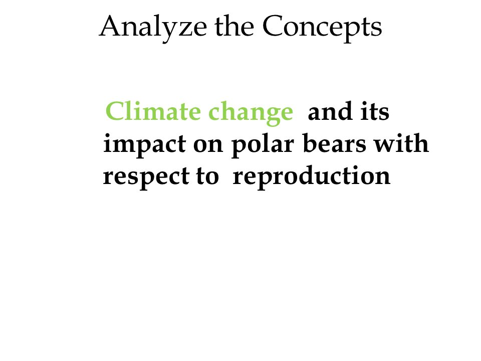 Analyze the Concepts Climate change and its impact on polar bears with respect to reproduction