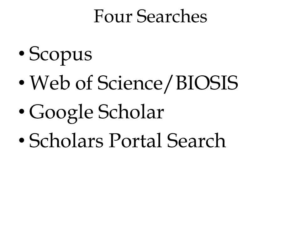 Four Searches Scopus Web of Science/BIOSIS Google Scholar Scholars Portal Search
