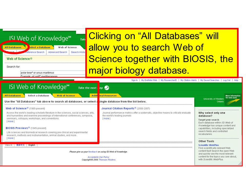 Clicking on All Databases will allow you to search Web of Science together with BIOSIS, the major biology database.