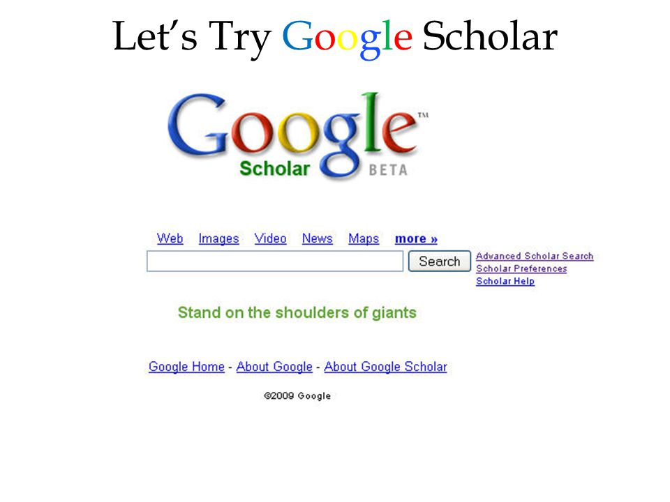 Let's Try Google Scholar