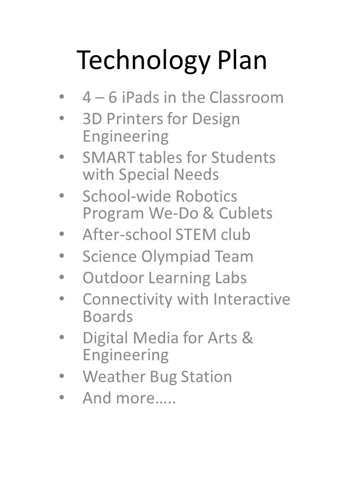 Technology Plan 4 – 6 iPads in the Classroom 3D Printers for Design Engineering SMART tables for Students with Special Needs School-wide Robotics Program We-Do & Cublets After-school STEM club Science Olympiad Team Outdoor Learning Labs Connectivity with Interactive Boards Digital Media for Arts & Engineering Weather Bug Station And more…..