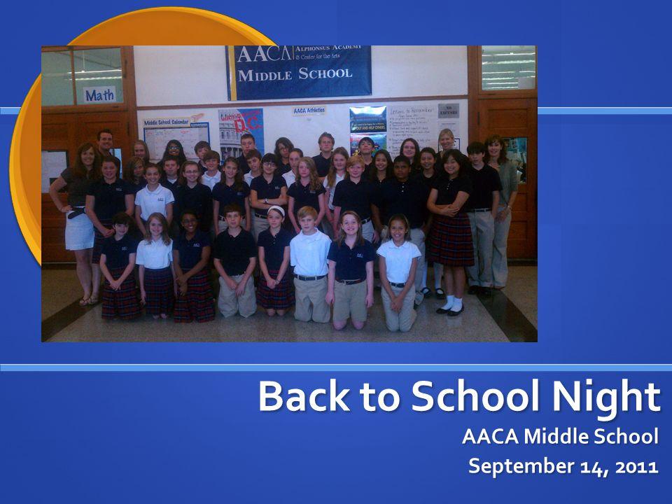 Back to School Night AACA Middle School September 14, 2011