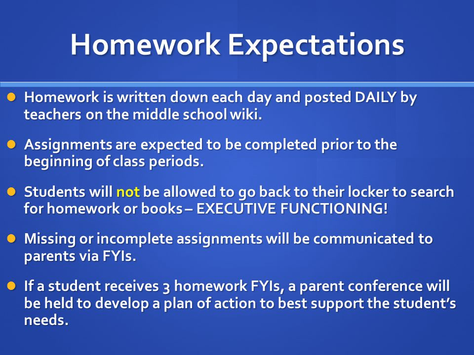 Homework Expectations Homework is written down each day and posted DAILY by teachers on the middle school wiki. Homework is written down each day and