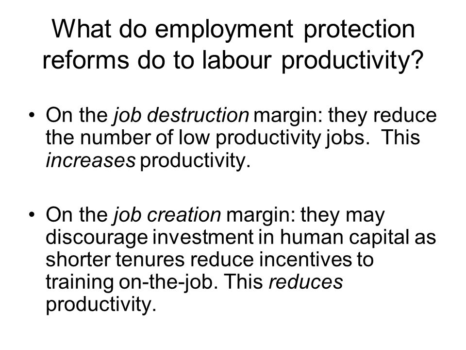 What do employment protection reforms do to labour productivity.