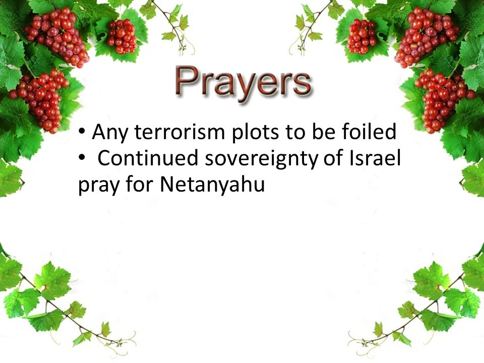 Any terrorism plots to be foiled Continued sovereignty of Israel pray for Netanyahu
