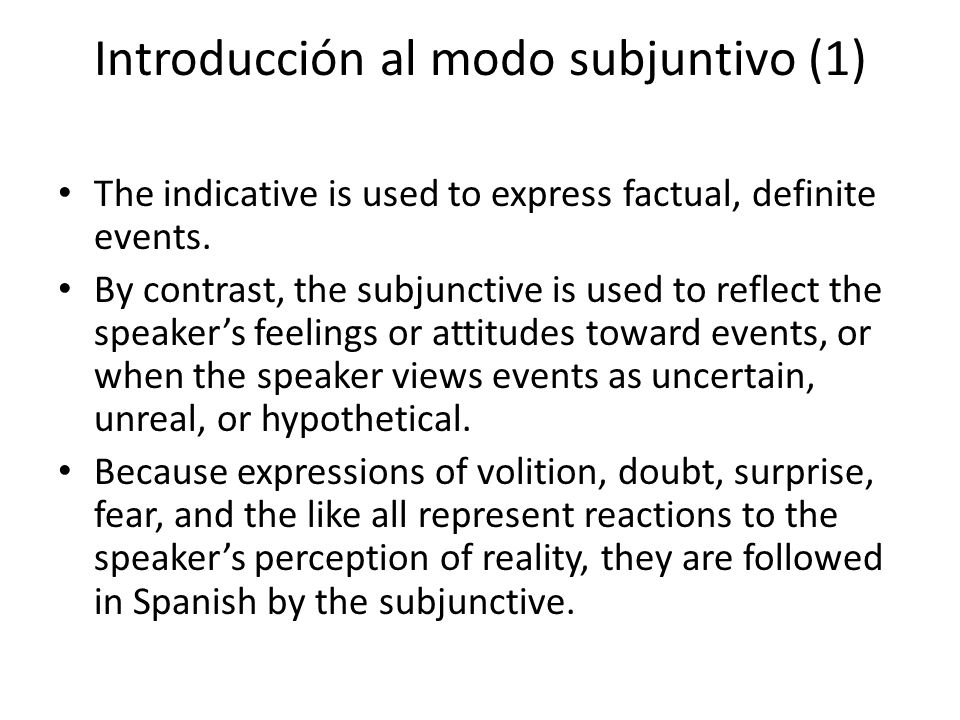 Introducción al modo subjuntivo (2) Present subjunctive forms of regular verbs To form the present subjunctive, add the following endings to the stem of the first- person singular of the present indicative, after dropping the o.