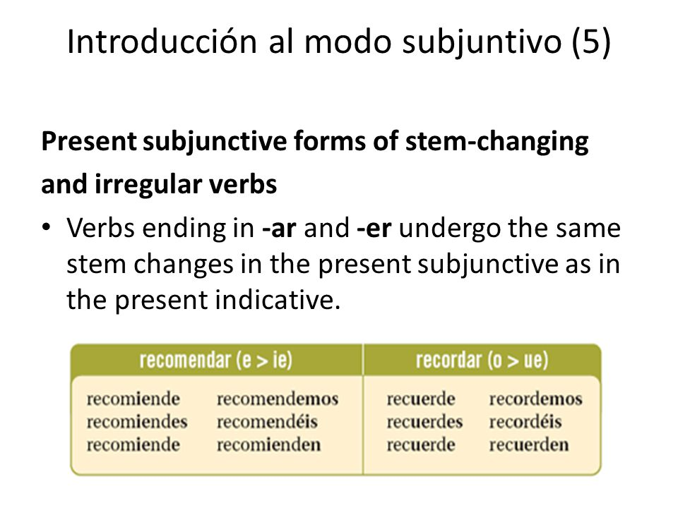 El subjuntivo con verbos que indican voluntad o deseo (1) All expressions of will require the use of the subjunctive in subordinate clauses.