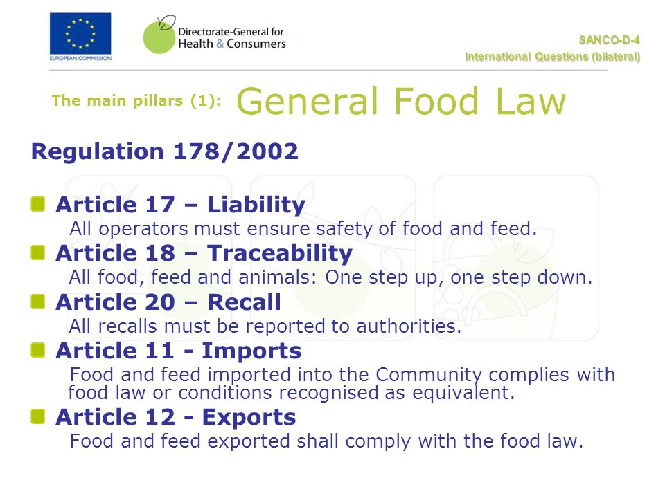 SANCO-D-4 International Questions (bilateral) The main pillars (1): General Food Law Regulation 178/2002 Article 17 – Liability All operators must ensure safety of food and feed.