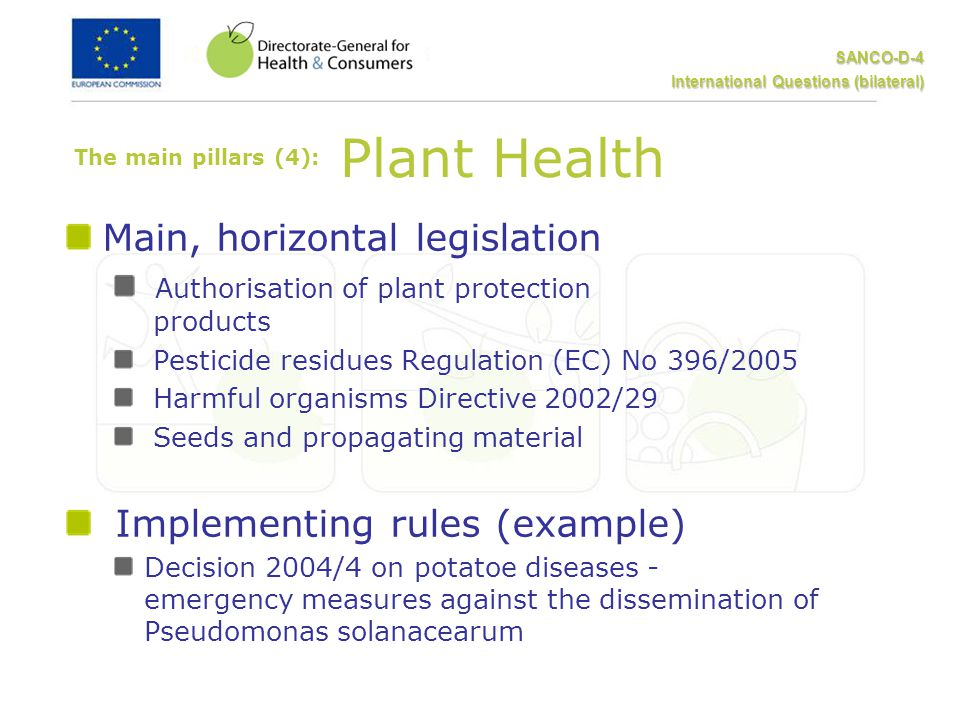 SANCO-D-4 International Questions (bilateral) The main pillars (4): Plant Health Main, horizontal legislation Authorisation of plant protection products Pesticide residues Regulation (EC) No 396/2005 Harmful organisms Directive 2002/29 Seeds and propagating material Implementing rules (example) Decision 2004/4 on potatoe diseases - emergency measures against the dissemination of Pseudomonas solanacearum