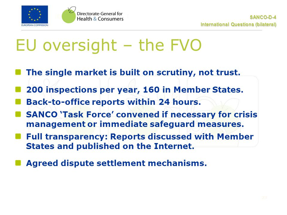 SANCO-D-4 International Questions (bilateral) 23 EU oversight – the FVO The single market is built on scrutiny, not trust.