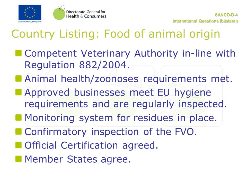 SANCO-D-4 International Questions (bilateral) Country Listing: Food of animal origin Competent Veterinary Authority in-line with Regulation 882/2004.