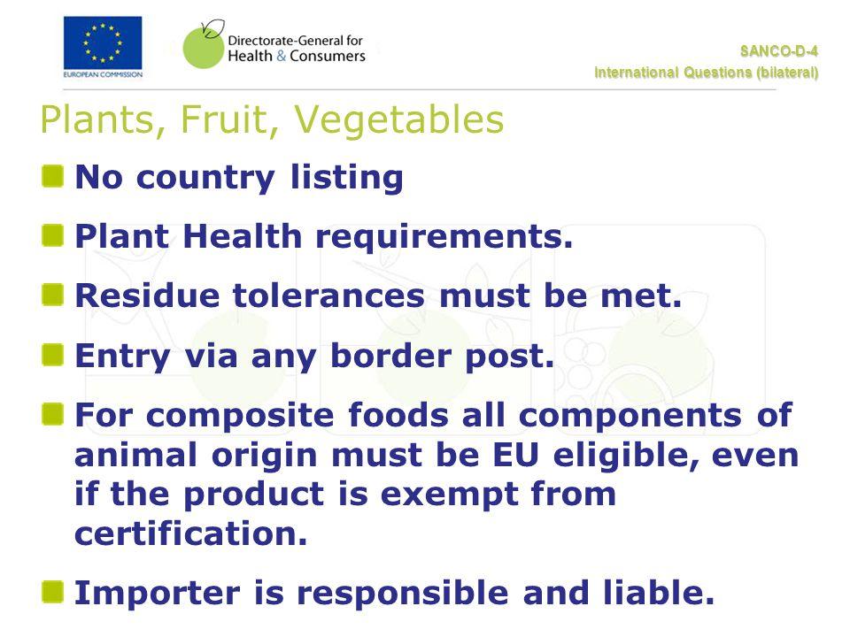 SANCO-D-4 International Questions (bilateral) Plants, Fruit, Vegetables No country listing Plant Health requirements.