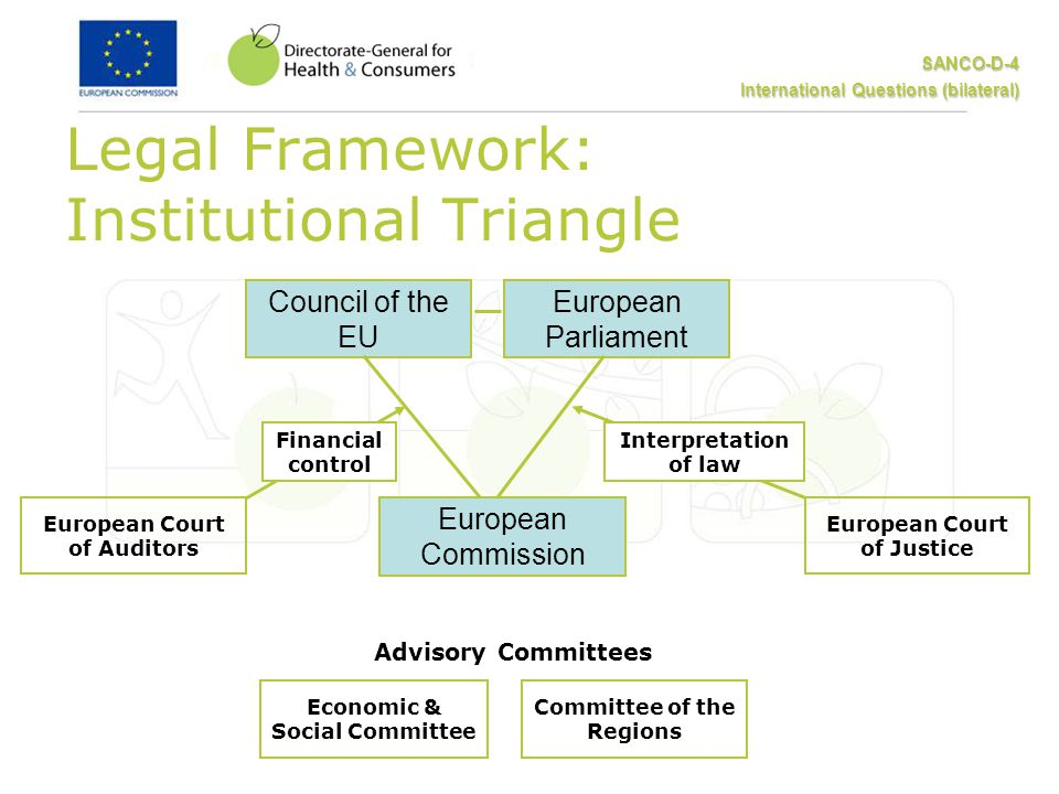 SANCO-D-4 International Questions (bilateral) European Parliament Council of the EU European Commission Economic & Social Committee Committee of the Regions European Court of Justice European Court of Auditors Advisory Committees Legal Framework: Institutional Triangle Interpretation of law Financial control