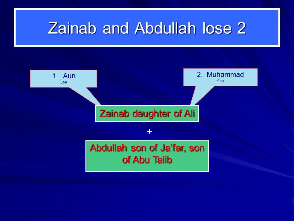 Zainab and Abdullah lose 2 2. Muhammad Son 1.Aun Son Zainab daughter of Ali Abdullah son of Ja'far, son of Abu Talib +
