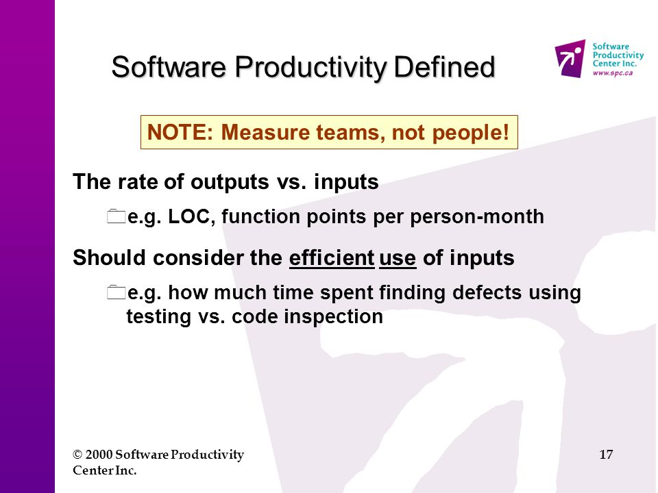 © 2000 Software Productivity Center Inc.17 Software Productivity Defined The rate of outputs vs.