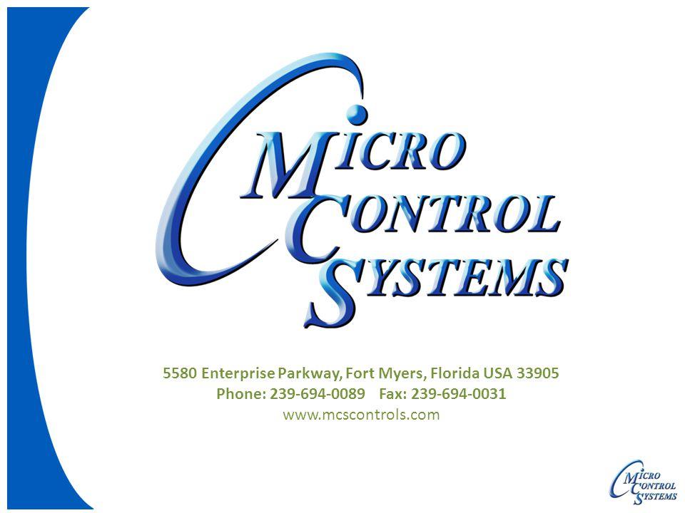 5580 Enterprise Parkway, Fort Myers, Florida USA 33905 Phone: 239-694-0089 Fax: 239-694-0031 www.mcscontrols.com