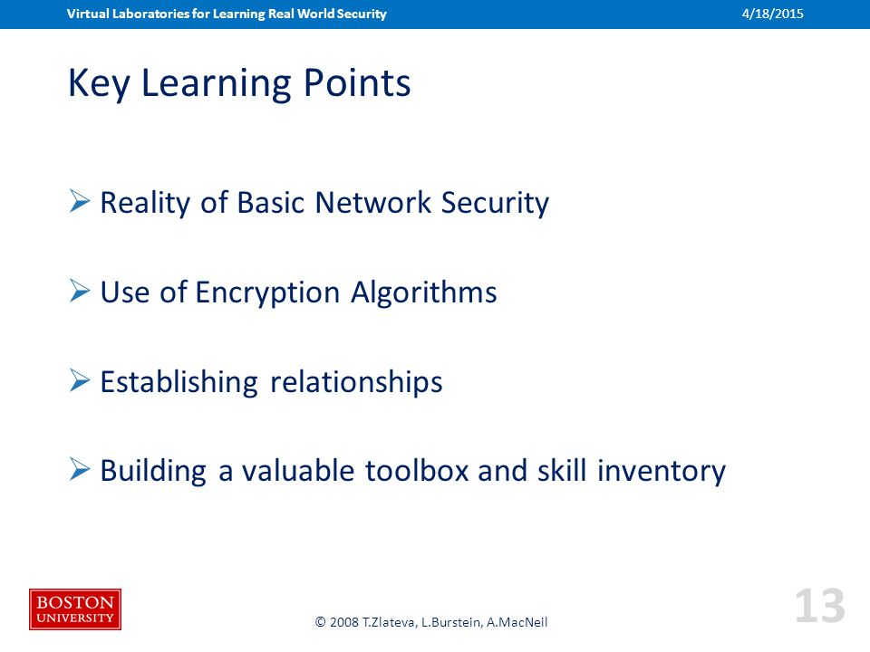 Boston University Slideshow Title Goes Here © 2008 T.Zlateva, L.Burstein, A.MacNeil Key Learning Points  Reality of Basic Network Security  Use of Encryption Algorithms  Establishing relationships  Building a valuable toolbox and skill inventory Virtual Laboratories for Learning Real World Security 13 4/18/2015