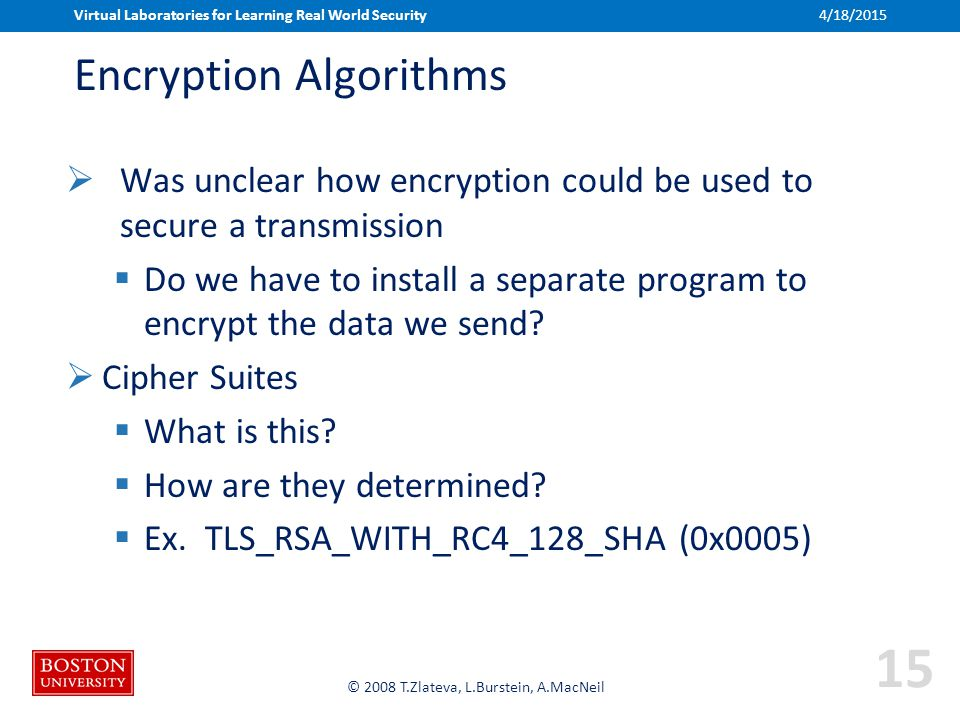 Boston University Slideshow Title Goes Here © 2008 T.Zlateva, L.Burstein, A.MacNeil Encryption Algorithms  Was unclear how encryption could be used t