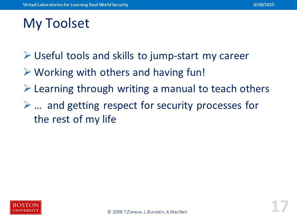 Boston University Slideshow Title Goes Here © 2008 T.Zlateva, L.Burstein, A.MacNeil My Toolset  Useful tools and skills to jump-start my career  Wor