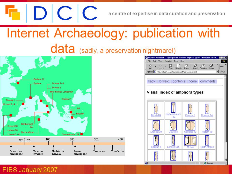 a centre of expertise in data curation and preservation FIBS January 2007 Internet Archaeology: publication with data (sadly, a preservation nightmare!)