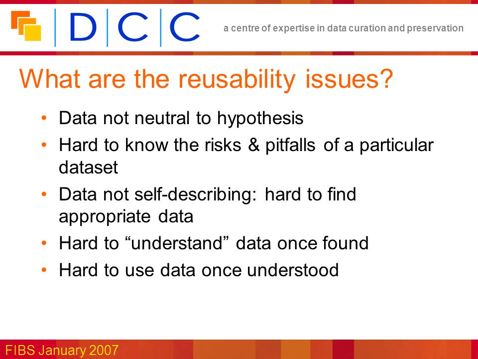 a centre of expertise in data curation and preservation FIBS January 2007 What are the reusability issues.