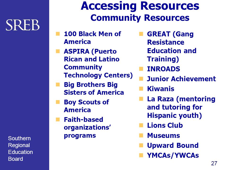 Southern Regional Education Board Accessing Resources Community Resources 100 Black Men of America ASPIRA (Puerto Rican and Latino Community Technology Centers) Big Brothers Big Sisters of America Boy Scouts of America Faith-based organizations' programs GREAT (Gang Resistance Education and Training) INROADS Junior Achievement Kiwanis La Raza (mentoring and tutoring for Hispanic youth) Lions Club Museums Upward Bound YMCAs/YWCAs 27