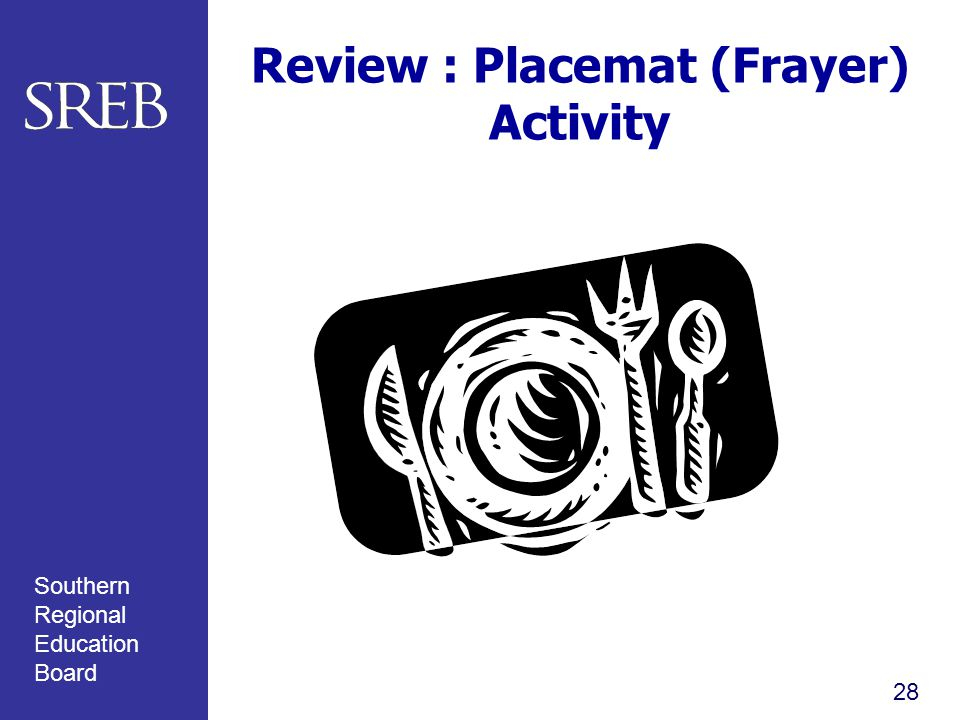 Southern Regional Education Board Review : Placemat (Frayer) Activity 28