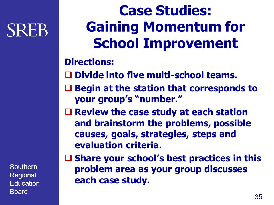 Southern Regional Education Board Case Studies: Gaining Momentum for School Improvement Directions:  Divide into five multi-school teams.
