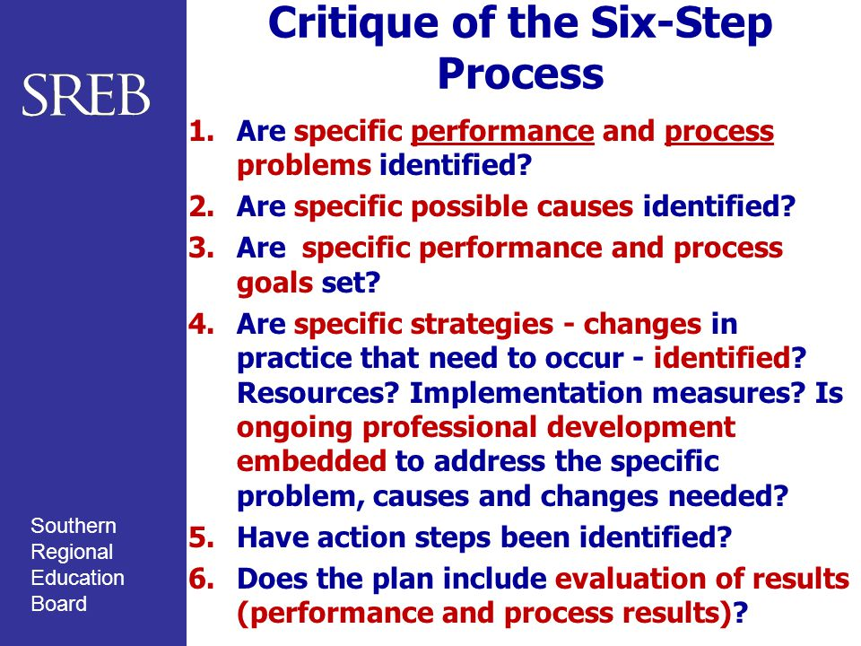 Southern Regional Education Board Critique of the Six-Step Process 1.Are specific performance and process problems identified.