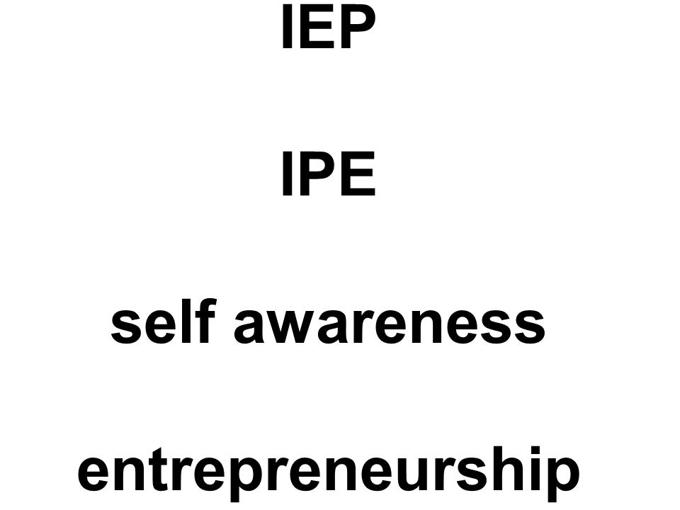 IEP IPE self awareness entrepreneurship