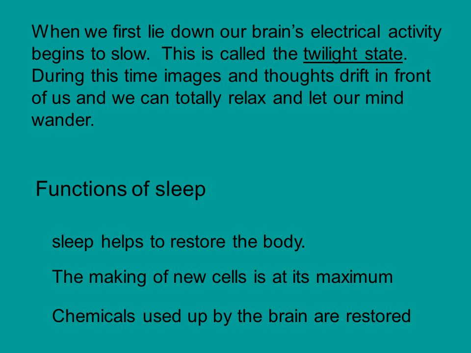 When we first lie down our brain's electrical activity begins to slow.