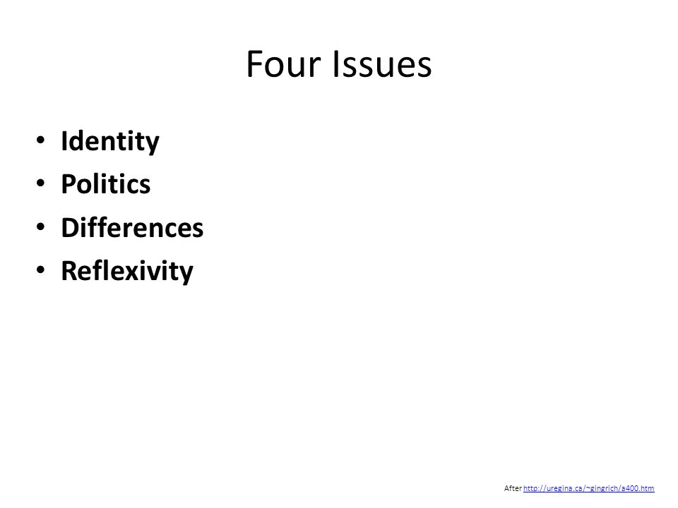 Four Issues Identity Politics Differences Reflexivity After http://uregina.ca/~gingrich/a400.htmhttp://uregina.ca/~gingrich/a400.htm