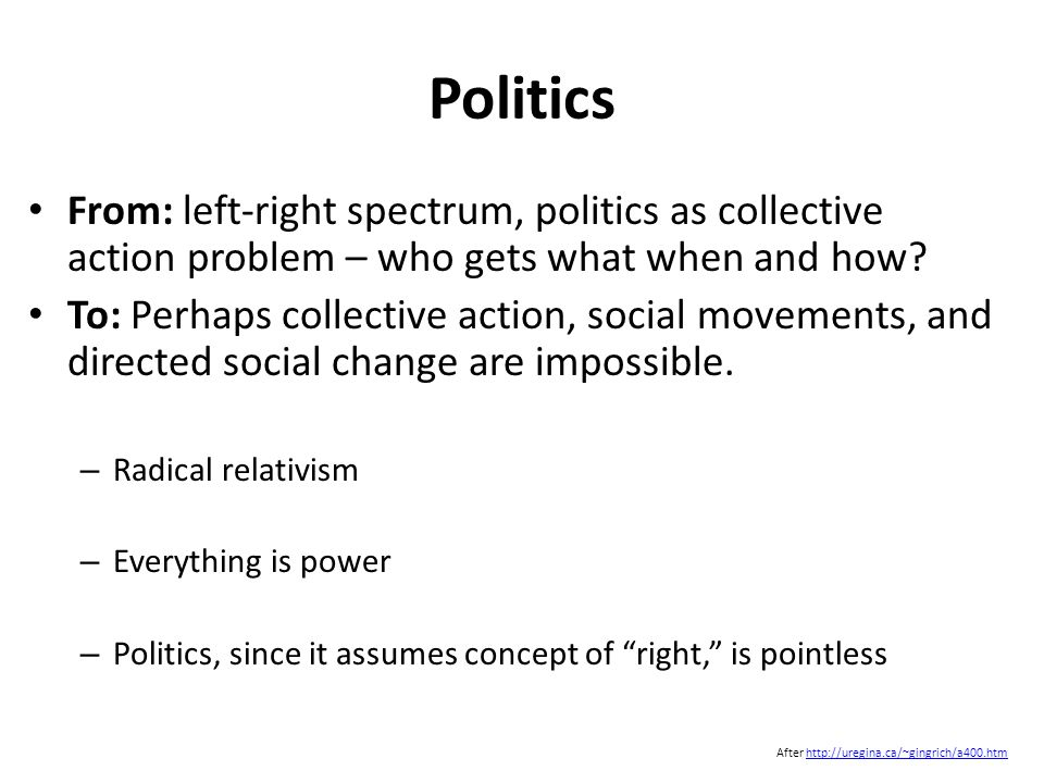 Politics From: left-right spectrum, politics as collective action problem – who gets what when and how.