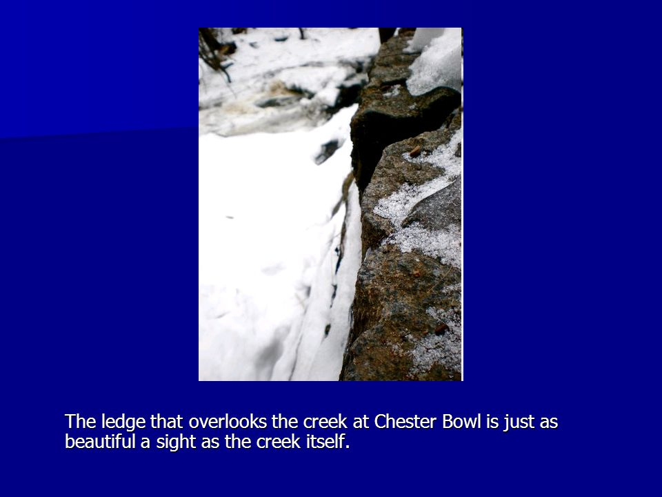 The ledge that overlooks the creek at Chester Bowl is just as beautiful a sight as the creek itself.