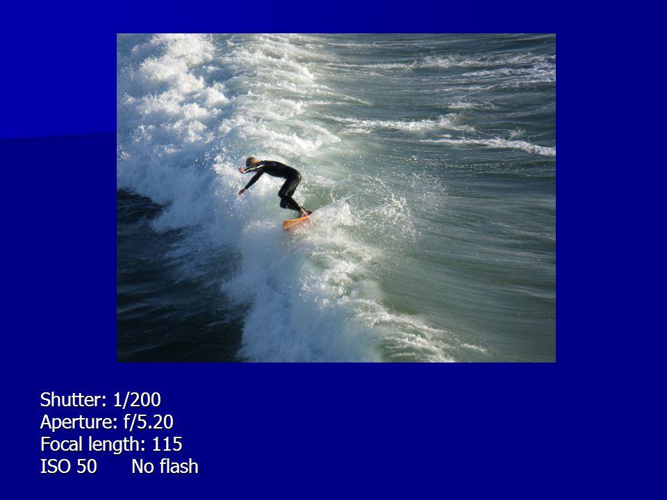 Shutter: 1/200 Aperture: f/5.20 Focal length: 115 ISO 50 No flash