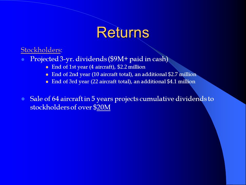 Returns Stockholders: Projected 3-yr.
