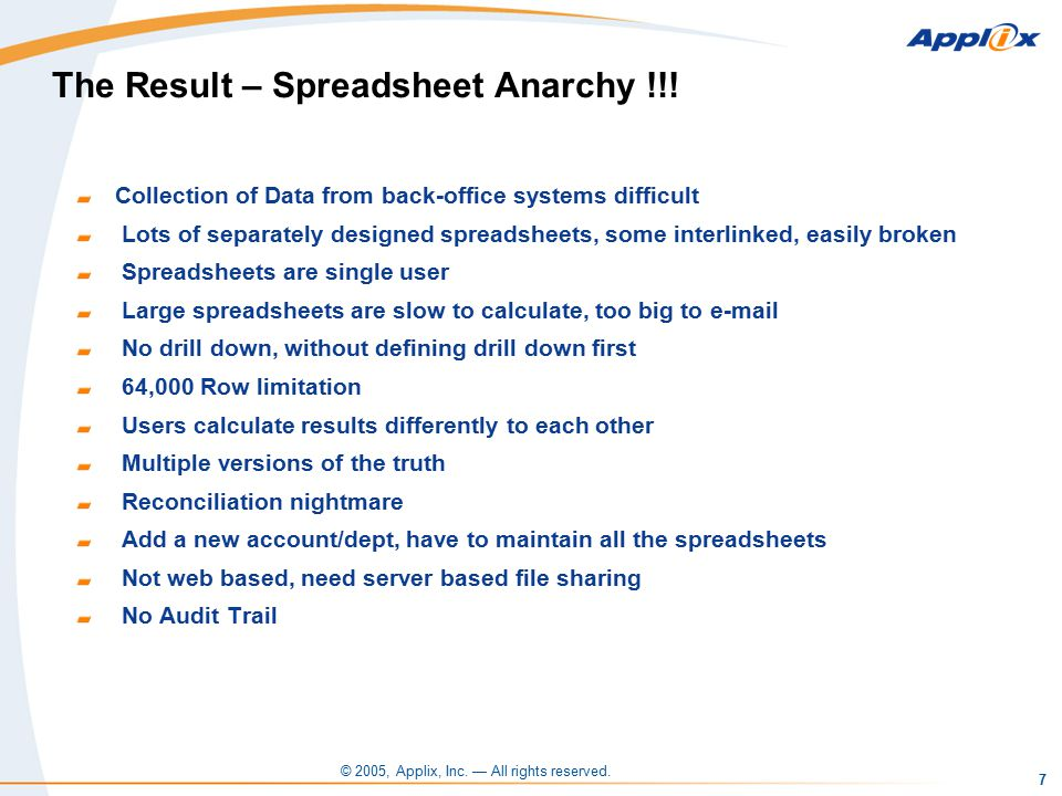 © 2005, Applix, Inc. — All rights reserved. 7 The Result – Spreadsheet Anarchy !!.