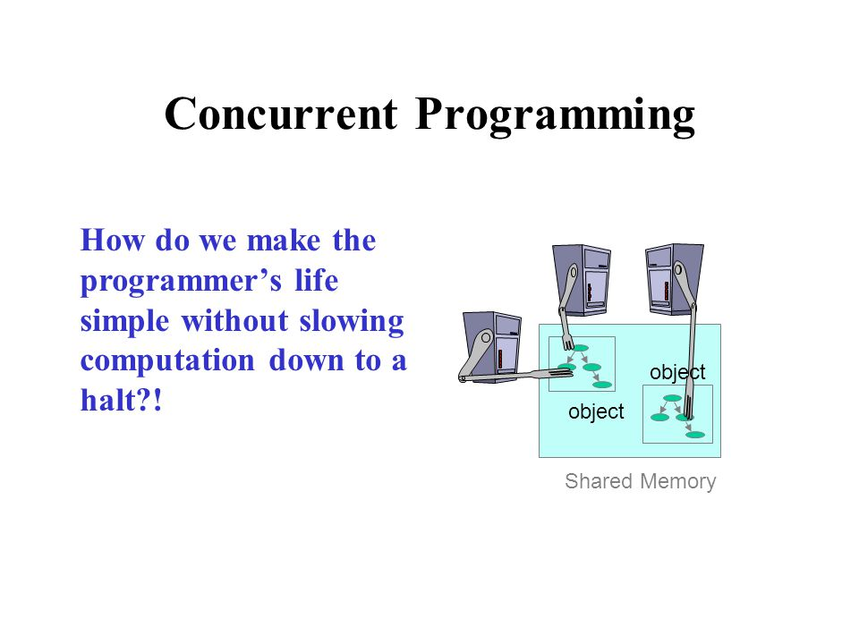 object Shared Memory Concurrent Programming How do we make the programmer's life simple without slowing computation down to a halt?!