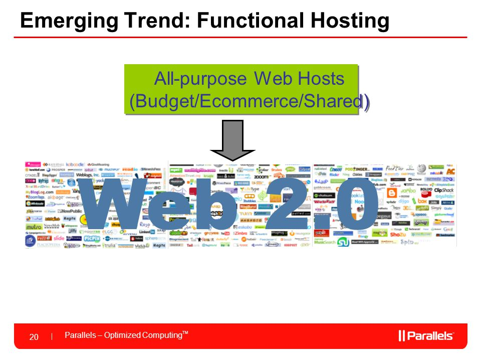 20 Parallels – Optimized Computing TM 20 Emerging Trend: Functional Hosting All-purpose Web Hosts (Budget/Ecommerce/Shared) All-purpose Web Hosts (Budget/Ecommerce/Shared) Web 2.0