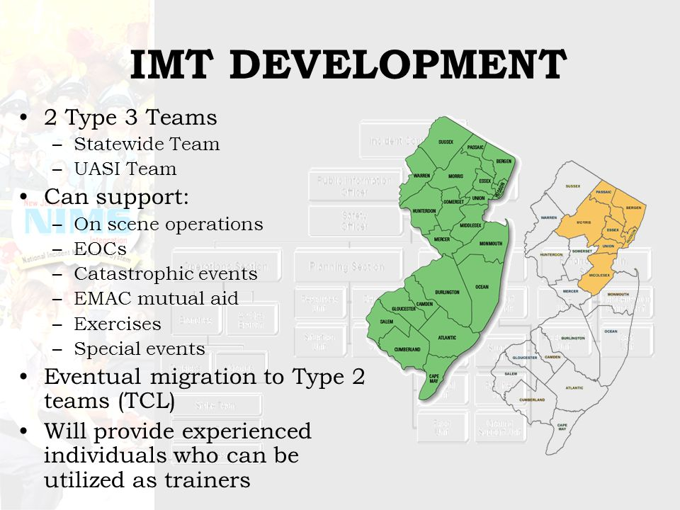 IMT DEVELOPMENT 2 Type 3 Teams –Statewide Team –UASI Team Can support: –On scene operations –EOCs –Catastrophic events –EMAC mutual aid –Exercises –Special events Eventual migration to Type 2 teams (TCL) Will provide experienced individuals who can be utilized as trainers