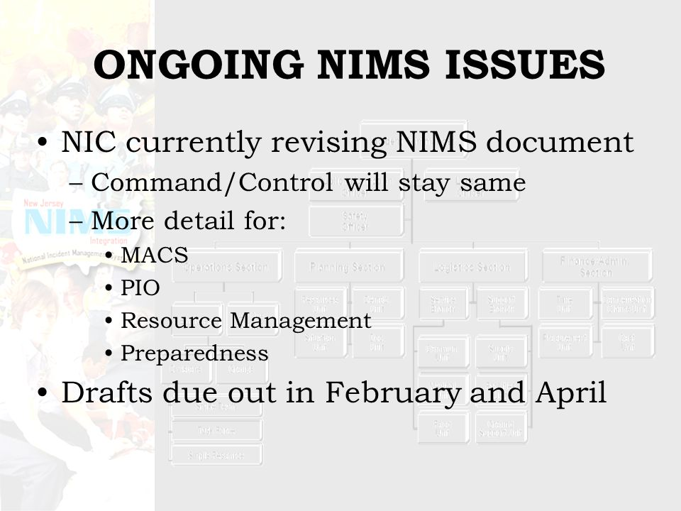 ONGOING NIMS ISSUES NIC currently revising NIMS document –Command/Control will stay same –More detail for: MACS PIO Resource Management Preparedness Drafts due out in February and April