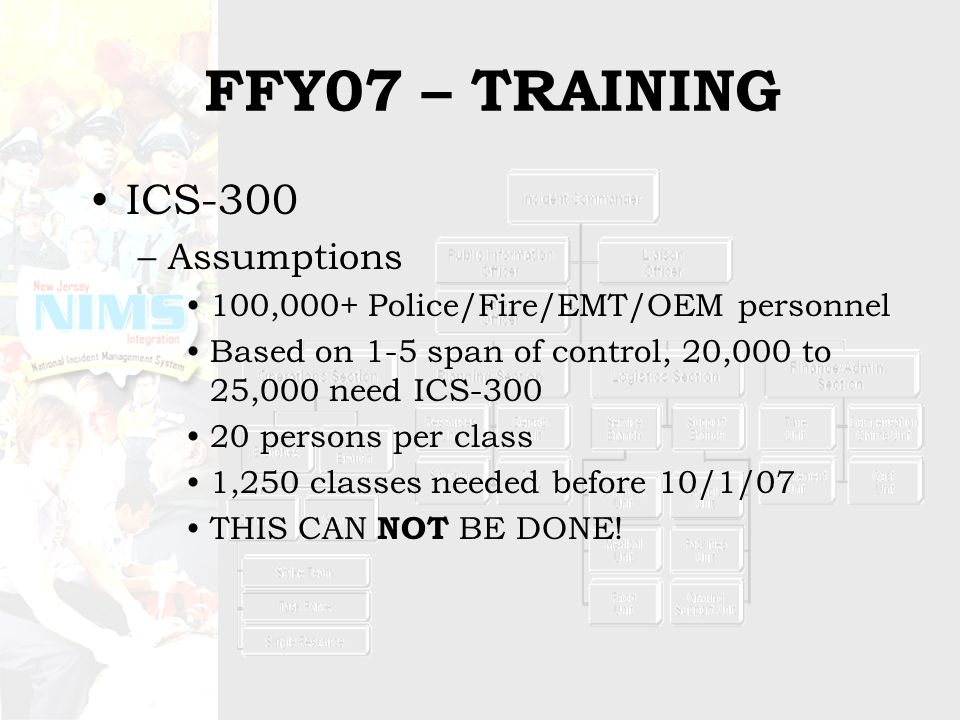 TRAINING NEEDS WITH IMTs First Responders –IS-700, NIMS Awareness –ICS-100, Introduction –ICS-200, Basic –Select supervisory personnel ICS-300, Intermediate ICS-400, Advanced ICS Position Training EOC Staff –IS-700, NIMS Awareness –IS-800, Intro to NRP –ICS-100, Introduction –ICS-200, Basic –IS-701, NIMS Multi-agency Coordination System –Select personnel ICS-300, Intermediate ICS-400, Advanced ICS Position Training IS-703 NIMS Resource Management