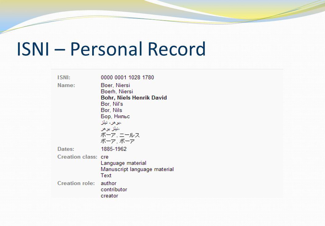 ISNI – Personal Record