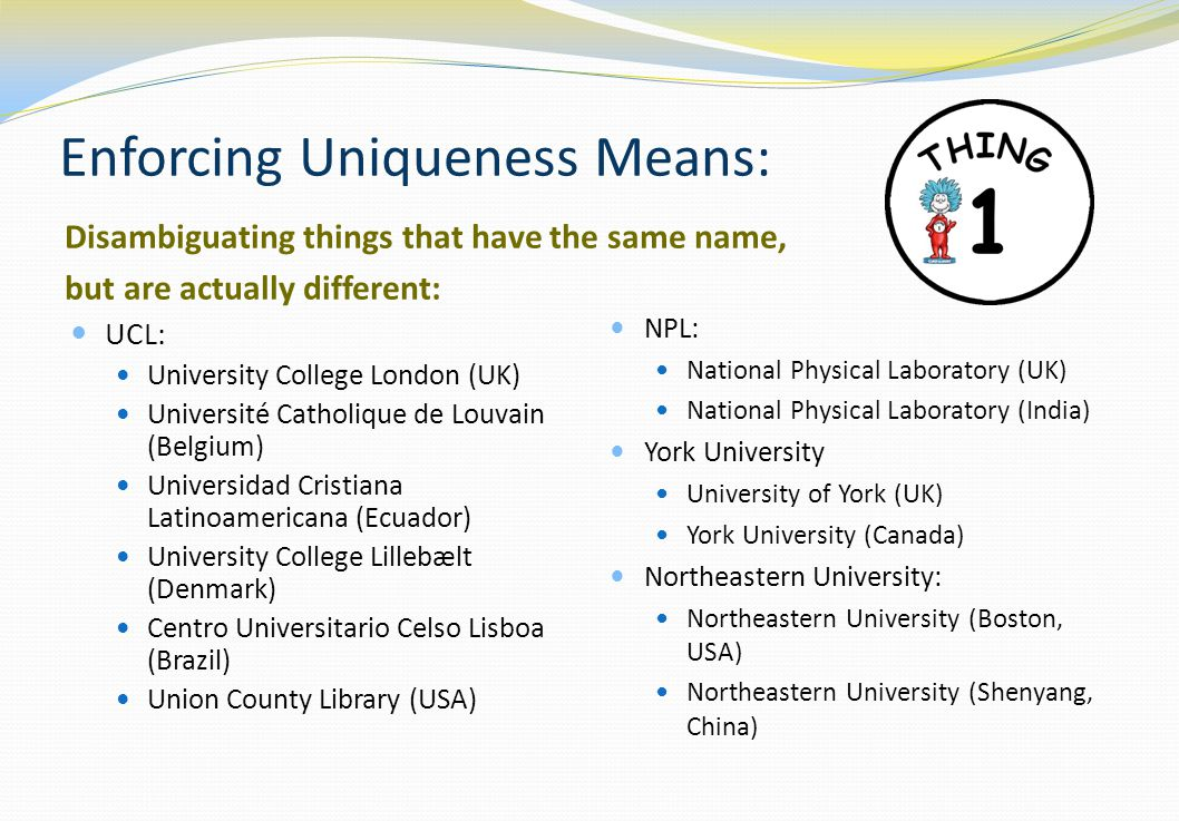 Enforcing Uniqueness Means: Disambiguating things that have the same name, but are actually different: UCL: University College London (UK) Université Catholique de Louvain (Belgium) Universidad Cristiana Latinoamericana (Ecuador) University College Lillebælt (Denmark) Centro Universitario Celso Lisboa (Brazil) Union County Library (USA) NPL: National Physical Laboratory (UK) National Physical Laboratory (India) York University University of York (UK) York University (Canada) Northeastern University: Northeastern University (Boston, USA) Northeastern University (Shenyang, China)