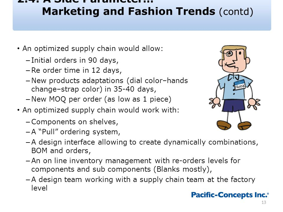 2.4: A Side Parameter… Marketing and Fashion Trends (contd) An optimized supply chain would allow: – Initial orders in 90 days, – Re order time in 12 days, – New products adaptations (dial color–hands change–strap color) in 35-40 days, – New MOQ per order (as low as 1 piece) An optimized supply chain would work with: – Components on shelves, – A Pull ordering system, – A design interface allowing to create dynamically combinations, BOM and orders, – An on line inventory management with re-orders levels for components and sub components (Blanks mostly), – A design team working with a supply chain team at the factory level 13