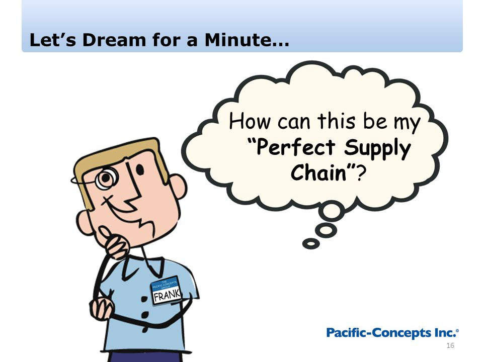 Let's Dream for a Minute… 16 How can this be my Perfect Supply Chain