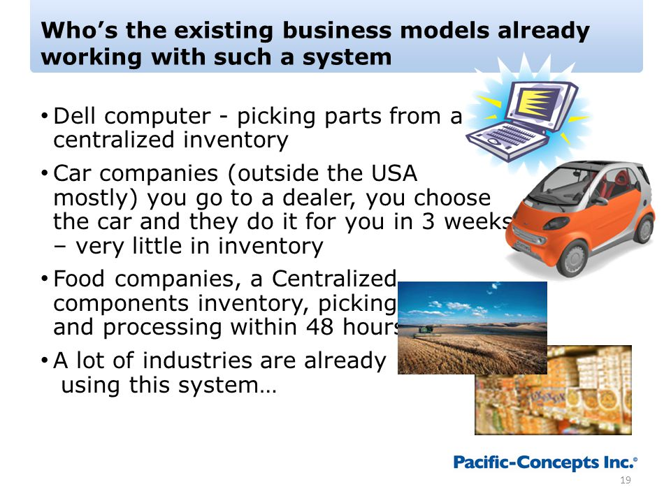 Who's the existing business models already working with such a system Dell computer - picking parts from a centralized inventory Car companies (outside the USA mostly) you go to a dealer, you choose the car and they do it for you in 3 weeks – very little in inventory Food companies, a Centralized components inventory, picking and processing within 48 hours A lot of industries are already using this system… 19
