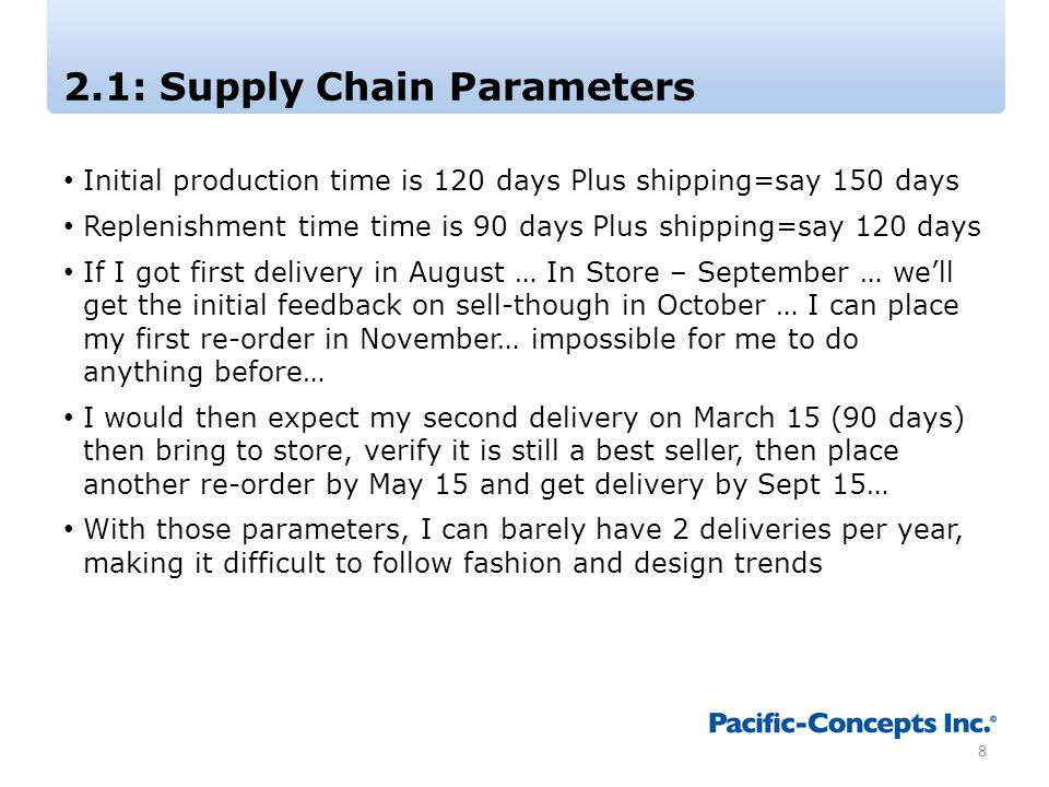 2.1: Supply Chain Parameters Initial production time is 120 days Plus shipping=say 150 days Replenishment time time is 90 days Plus shipping=say 120 d